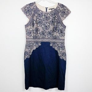 Antonio Melani Lace Navy Blue Midi Dress 14  B411